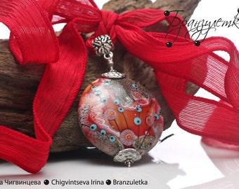 Luxury - Pendant lampwork bead red burgundy gray murrini flowers - silk cord