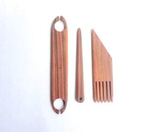 rosewood weaving tools, set of three