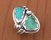 """Double Turquoise Ring with Campo Fria and Broken Arrow Turquoise  set in Sterling Silver with Handmade Silver Spheres Size 8 1/4"""""""