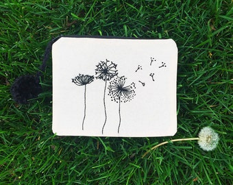 Dandelion Pouch. Handmade hand embroidered pencil pouch makeup bag travel bag purse organizer // pencil case