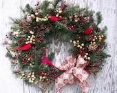 Winter Wreath, Christmas Wreath, Country Wreath, Rustic Lodge Wreath, Cardinal Wreath, Holiday Décor, Woodland Wreath