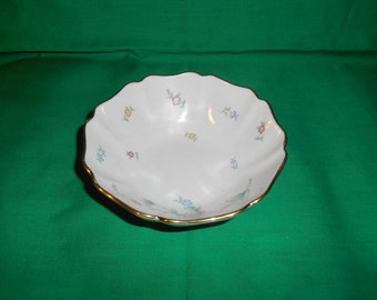 "One (1), 5 3/4"" Porcelain, Scalloped Bowl, from Lenox, in the Floral Garden Pattern."