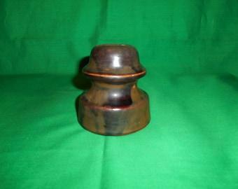 One (1), Thomas, Brown Glaze, Ceramic Telephone Pole Insulator.