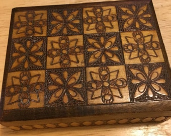 Hand Carved Wooden Keepsake Box - Poland