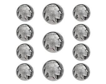 11 pc Indian Head Metal Blazer Button Set Antique Silver Color