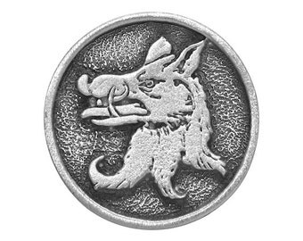 2 Medieval Boar 1 inch ( 25 mm ) Pewter Buttons Antique Silver Color