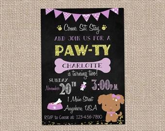 Puppy Party Invitation- Cute Puppy Invite-Girl's birthday invitation