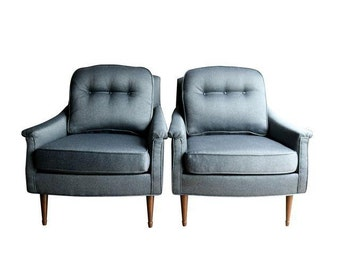 Grey Mid Century Modern Armchairs A Pair