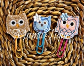 Owl Clips Owl bookmark Owl Planner Accessory Owl Planner Owl clip Animal Clip Bird Clip Planner Band Clip Set Pink Owl Pink clip blue clip