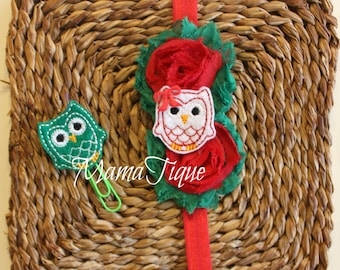 Owl planner band planner clip clip set owl clip planner set planner accessories red and green christmas clip christmas band eclp journal