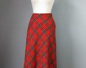 Red Plaid Skirt / Vtg 70s / A  Line Wool Red Plaid / Christmas Plaid / Holiday / Hostess Skirt / Red Plaid Maxi Skirt / Long Red SKirt