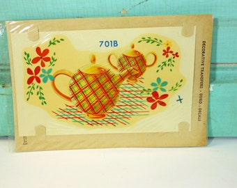 Vintage Plaid Teapot Decal Duro Decal Water Slide Transfer Red, Green and Blue Plaid