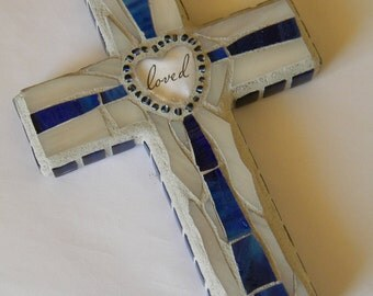 Blue White loved Mosaic Cross