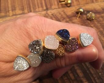 Druzy Stud Earrings: top selling druzy jewelry, druzy, earrings, 24K gold, sterling and druzy, druzy studs