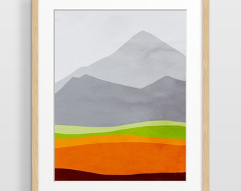 Mountain Print, Mid Century Modern Art Print, Abstract Watercolor Print, Scandinavian Art, Mountain Art, Abstract Landscape