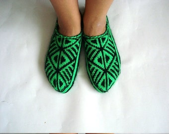 knit slippers, neon green black Turkish Knitted Socks Slippers, woman slippers, knitted home shoes, christmas gift for woman under 25 usd