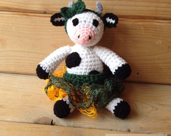 Cow Toy Stuffed Animal Doll Plushie with Tutu and Headband bow - Inspired Green Bay Packer Baby Cow - Newborn Photo Prop- Stocking stuffer