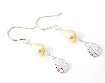 Yellow Freshwater Pearl and Sterling Silver Filigree Teardrop Dangle Earrings / Long Slender Silver Earrings / Pearl Earrings / E102