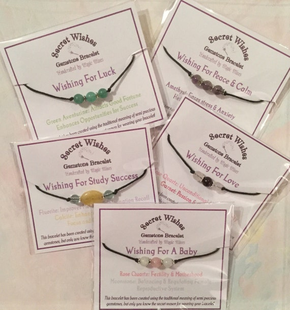 Secret Wishes, Gemstone Wish Bracelet for Love, Travel, Good luck, friendship, prosperity and Fertility