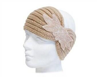 Tan Knit Beaded Turban
