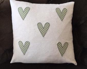 Linen Hearts Applique Cushion Cover