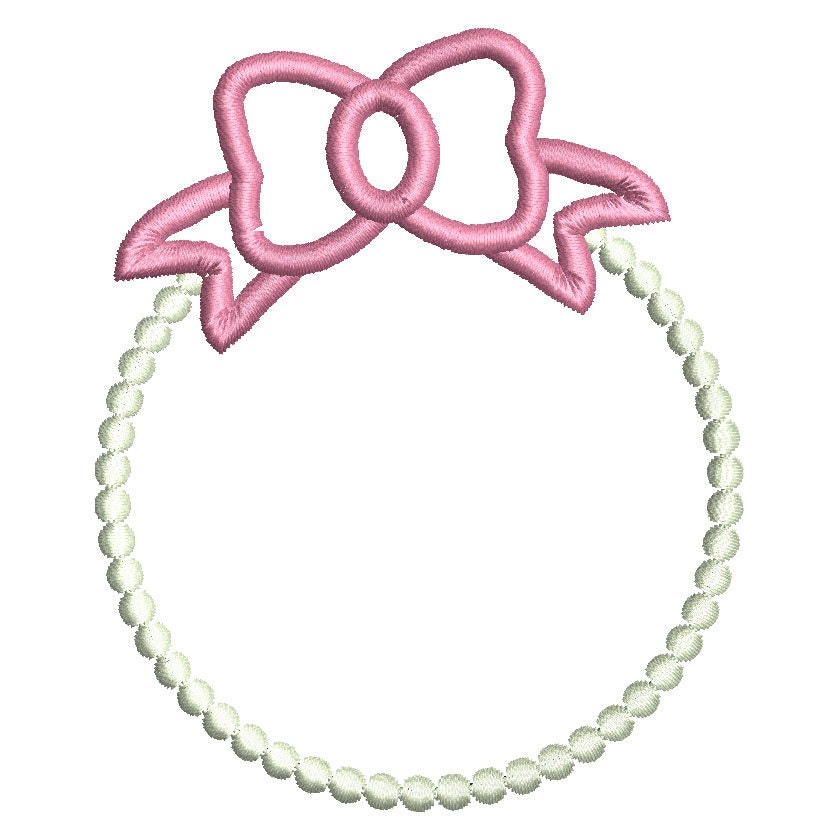 Pearls and bow monogram frame embroidery design instant