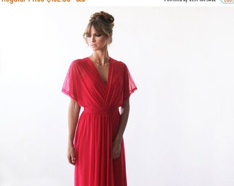 Coral maxi sheer chiffon dress, Bat-wings sleeves dress