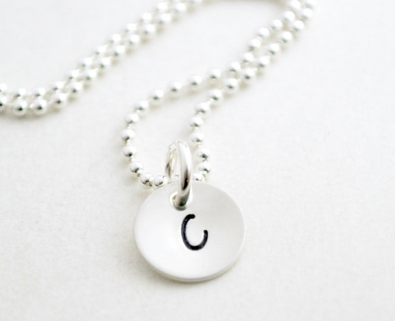 Personalized Small Initial Necklace Custom Hand Stamped Sterling Silver - Womens Jewelry - Graduation Gift for Her