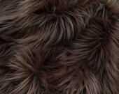 MoHair 60 Inch Faux Fur Dark Brown Fabric by the Yard, 1 yard