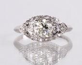 Antique Engagement Ring - Antique Platinum 1920s Diamond Engagement Ring