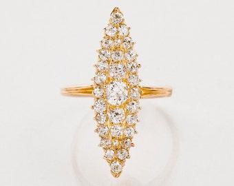 Antique Ring - Antique Victorian 18k Rose Gold Navette Diamond Ring
