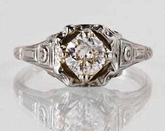 "Antique Engagement Ring - Antique 1920s ""White Rose"" 18k White Gold and Diamond Filigree Engagement Ring"