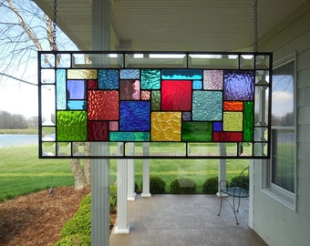 Stained Glass Panel Multi Colors & Beveled Window Transom