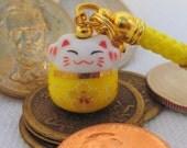 Maneki Neko, Lucky Beckoning Cat, Porcelain Phone/Handbag Charm with Yellow Braided Strap/Lanyard and Bell. Yellow Sakura Cat