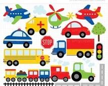 30% OFF - Clipart - Trains, Planes and Trucks Clip Art / Primary Colors / Transportation - Digital Clip Art (Instant Download)