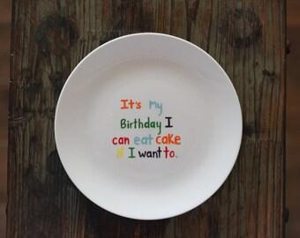 Custom Birthday Dessert Plate, Handpainted Dessert Plate