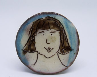 ceramic brooch portrait