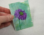 ACEO, ATC, Daisy Miniature Painting, Alcohol Inks, Original Small Work of Art, Purple Flowers, Gift Idea, Small Format Art, Collectors Art