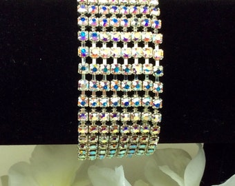 Swarovski Eight Row Crystal Bracelet -  Radiant Aurora Borealis  Fabulous & Classy - Designer Inspired - FREE SHIPPING