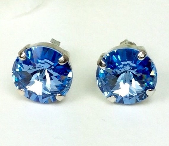 Swarovski Crystal 12MM Stud Earrings Classy & Feminine - Light Sapphire - Or Choose Your Favorite Color and Finish -  FREE SHIPPING