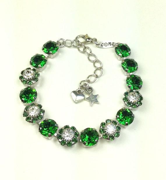 Swarovski Crystal 8.5mm Bracelet With Flowers  - Rich Dark Moss Green  With Swarovski Flowers -Designer Inspired - FREE SHIPPING