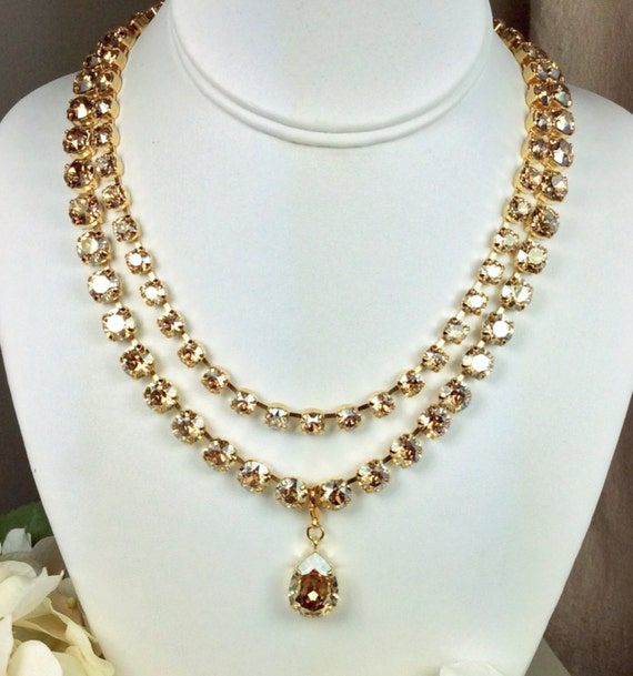 Swarovski Crystal Necklace 8.5mm and 6mm -  Stunning & Classy - DOUBLE Strand Statement Necklace- Beautiful! -FREE SHIPPING