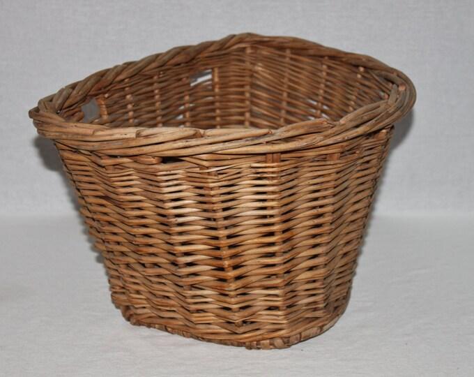 Vintage 1940s Wicker Bicycle Basket, Wicker Basket, Front Bicycle Basket