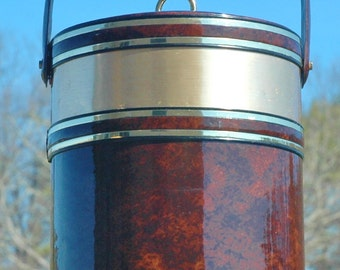 Beautiful Vintage Georges Briard Tortoise Shell Ice Bucket...Signed...Made In USA