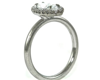 14kt White Gold and Diamond Marquee Engagement Ring with .90ct Marquee Moissanite Center (Vertical Halo)