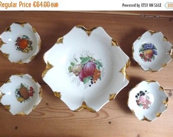 Sale 50 % Off Vintage French FRUITY DESSERT SET, 1 Big Bowl with 8 Small Bowls, Art Porcelain with Gilded Edges.