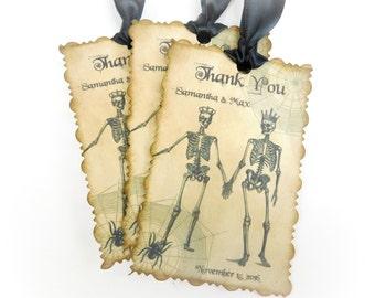 Halloween Wedding Tags, Custom Favor Tags, Wedding Favor Tags, Skeleton Couple, Goth Wedding Tags, Set of 12