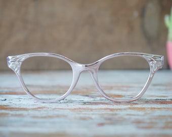 Vintage Eyeglass Cat eye glasses 1960's Ornate Made in Usa Frames Just Stunning All aluminium 44-20 Very light Pink