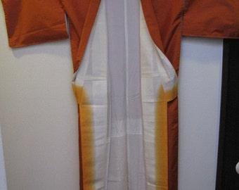 Vintage Kimono, Silk, Kihachijo, Orange, No.10