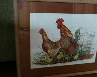 Chicken Lithograph Print